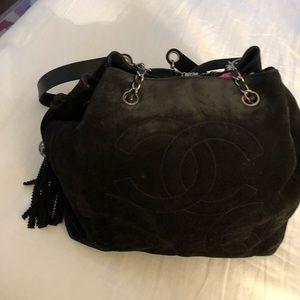 Black suede Chanel boho bag